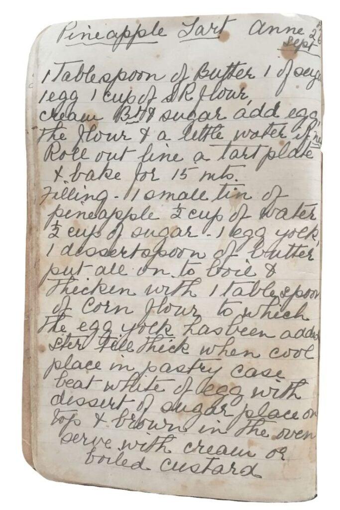 pineapple tart recipe handwritten