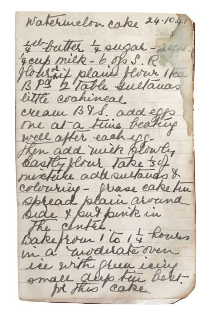 watermelon cake recipe handwritten