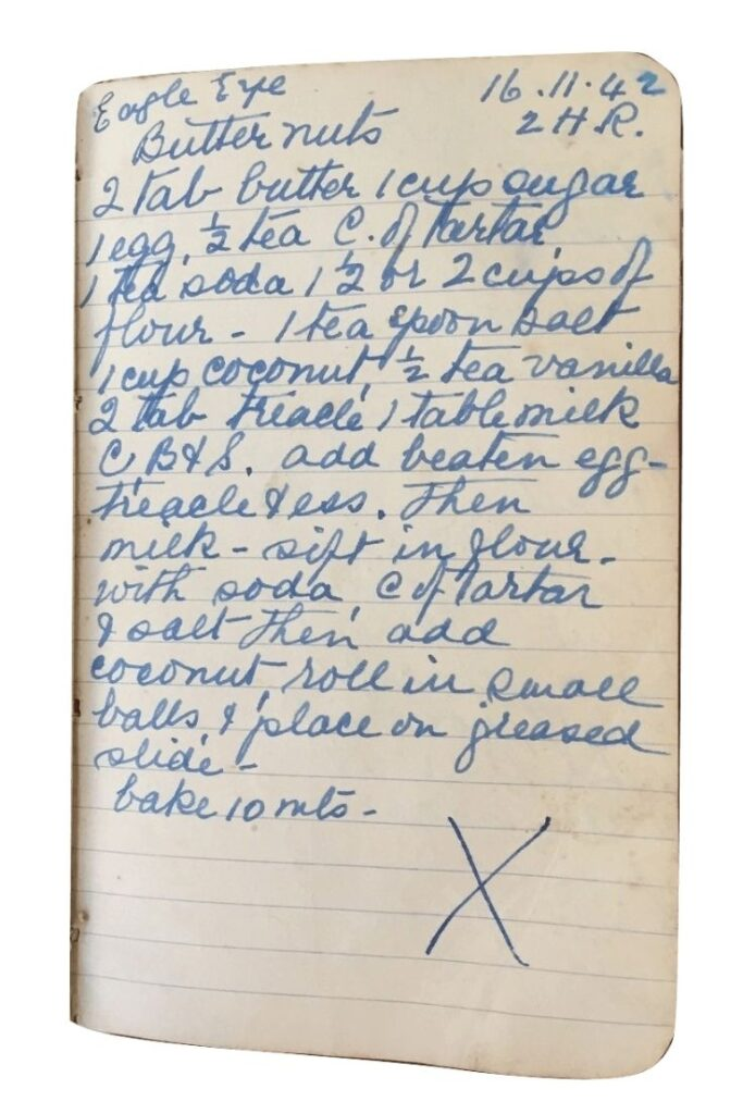 butternut cookies recipe handwritten
