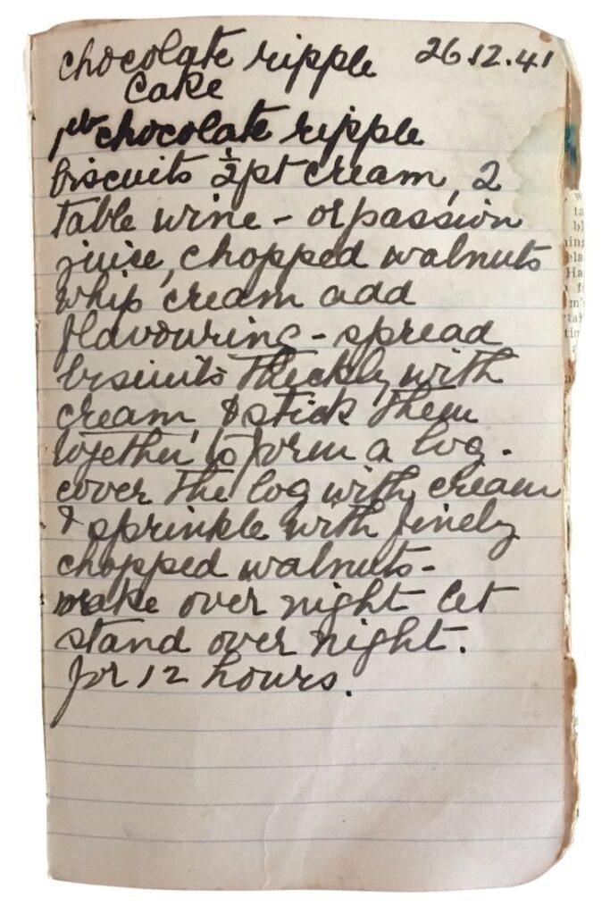 choc ripple cake recipe handwritten