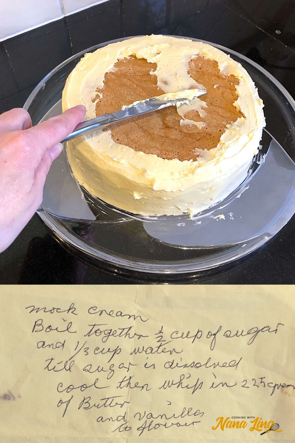 mock cream being spread on cake