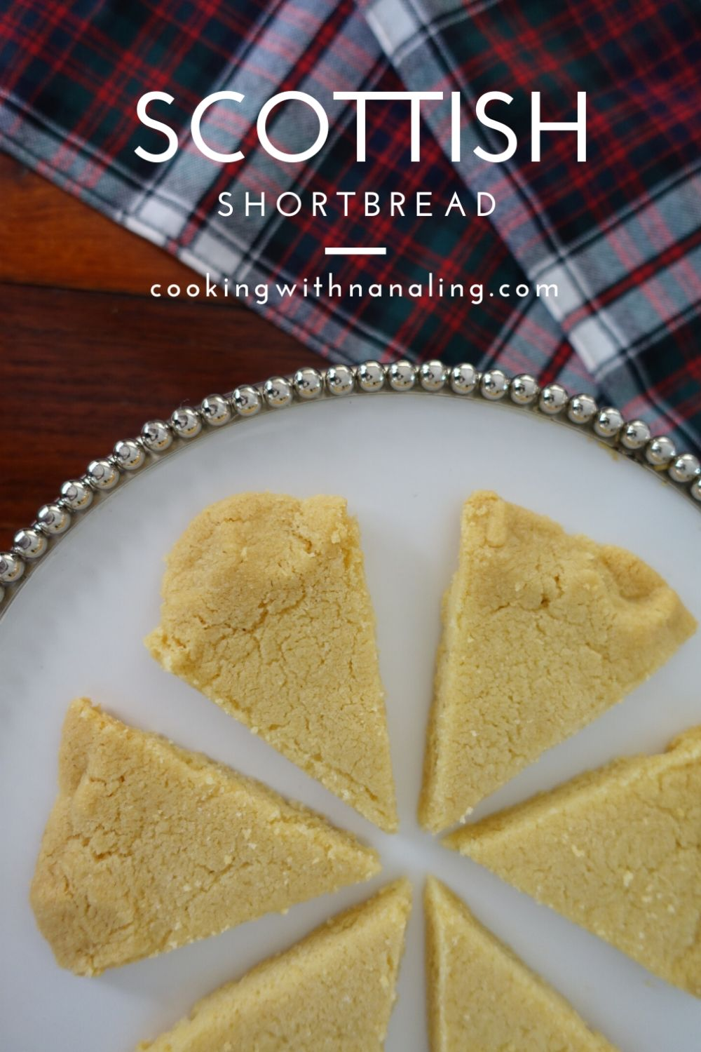 scottish shortbread with tartan background