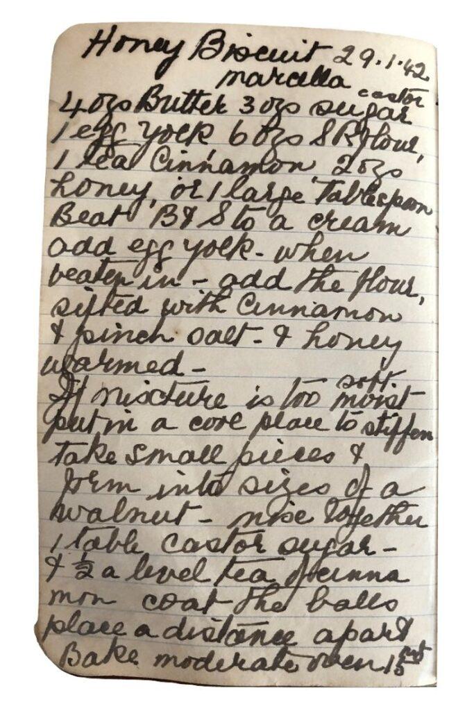 honey biscuits recipe handwritten