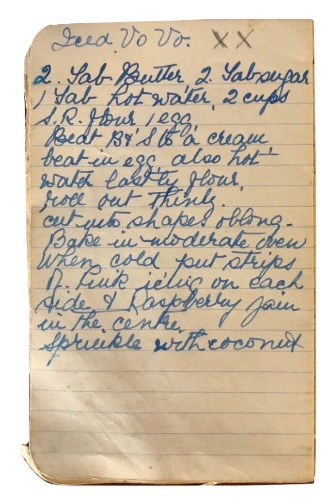 iced vovo recipe handwritten