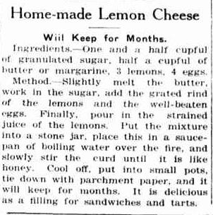 lemon cheese newspaper cutting
