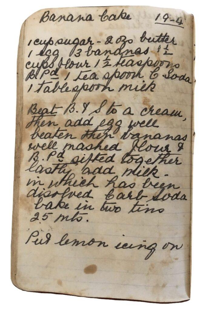 banana cake recipe handwritten