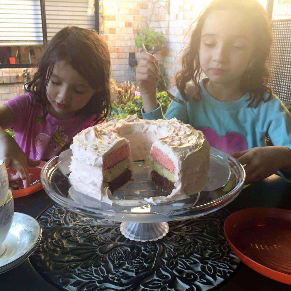eating neapolitan cake