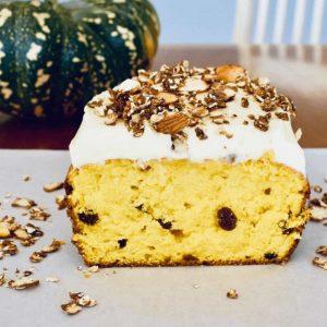 pumpkin cake cut on serving board