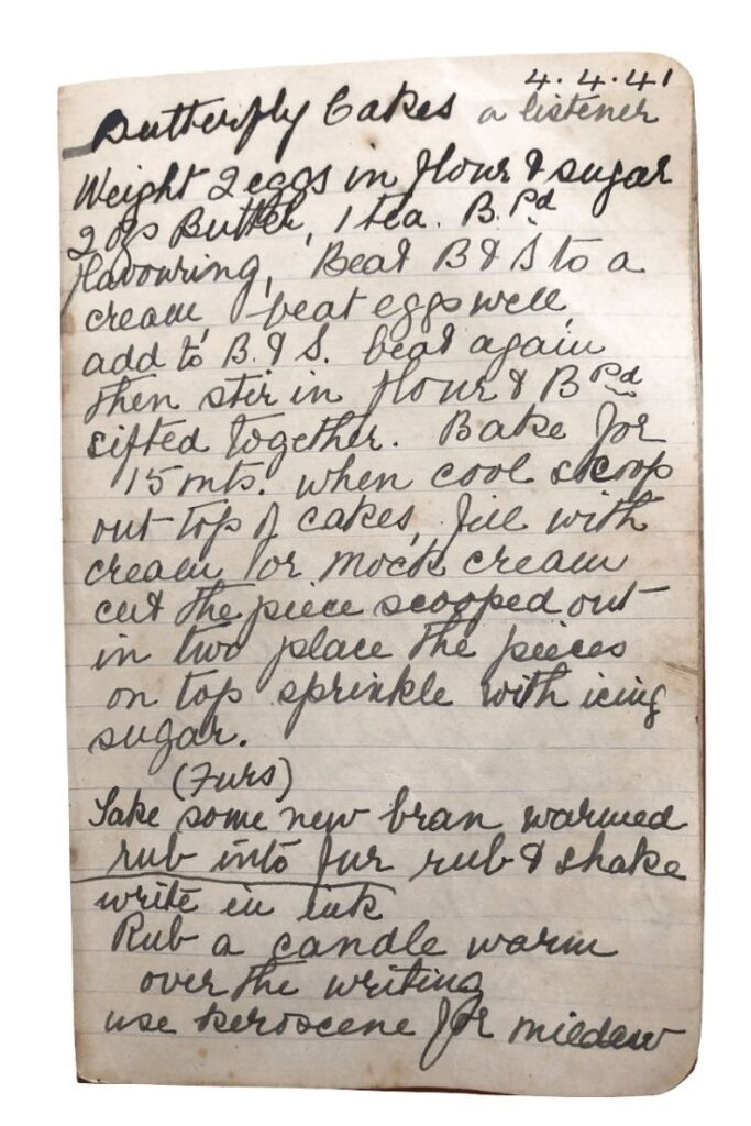 butterfly cakes recipe handwritten