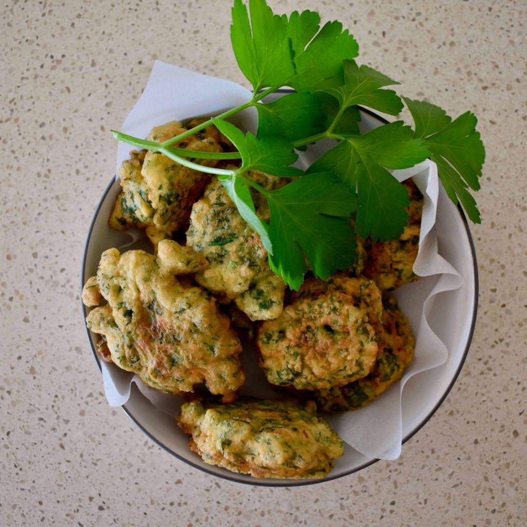 parsley fritters in bowl