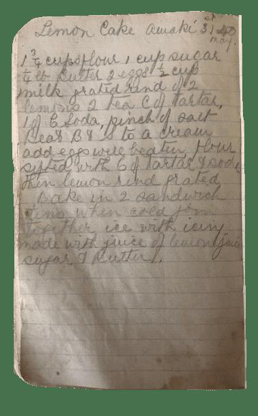 Nana Ling's handwritten lemon cake recipe