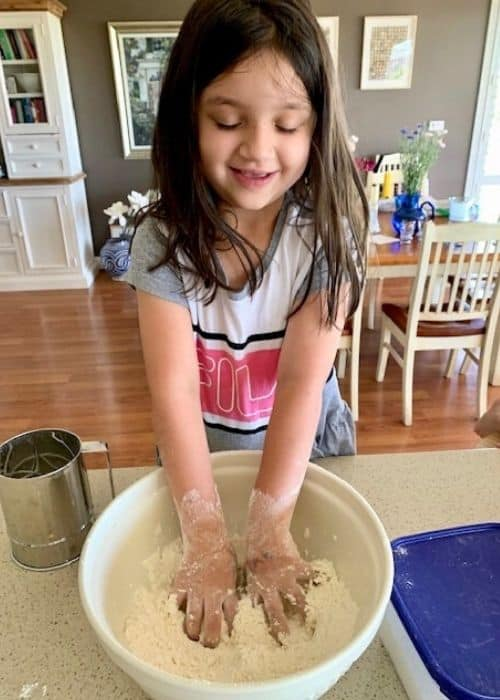 Miss Y making pinwheel scones