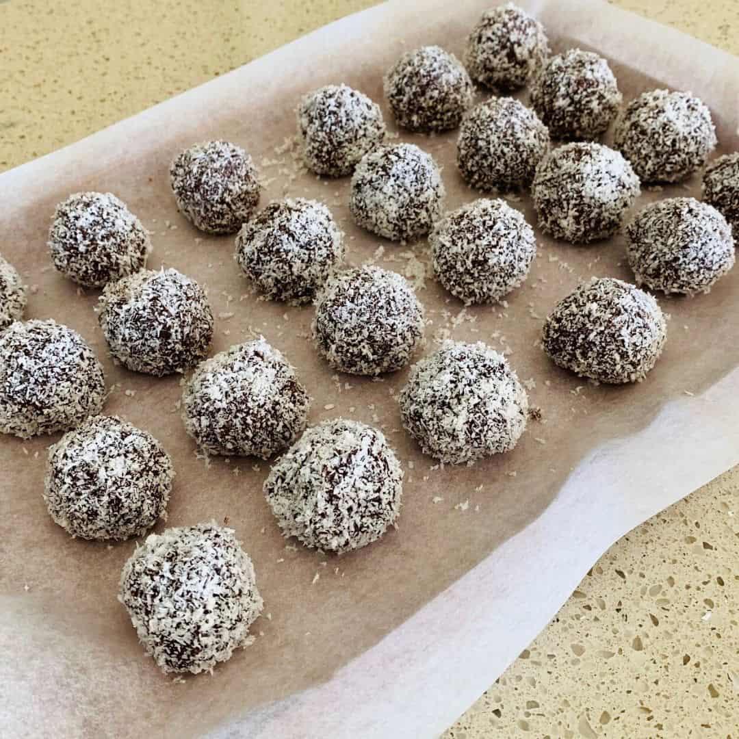 rum balls on tray
