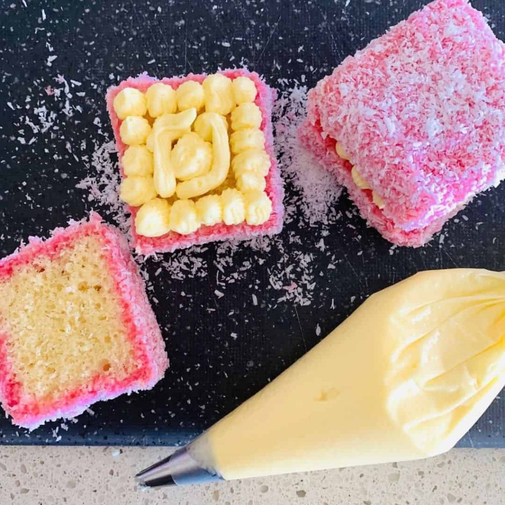 jelly lamingtons with cream