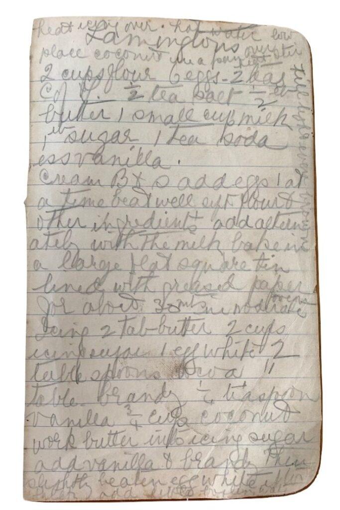 lamingtons recipe handwritten