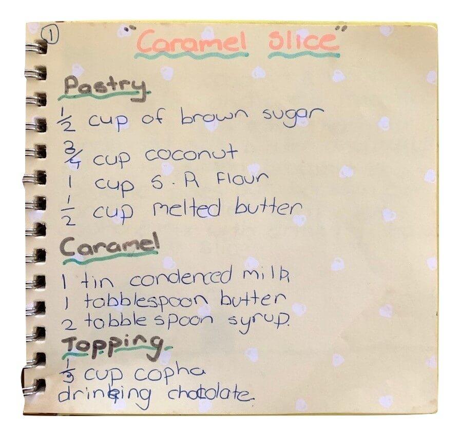 hand written caramel slice recipe from my mum's cookbook