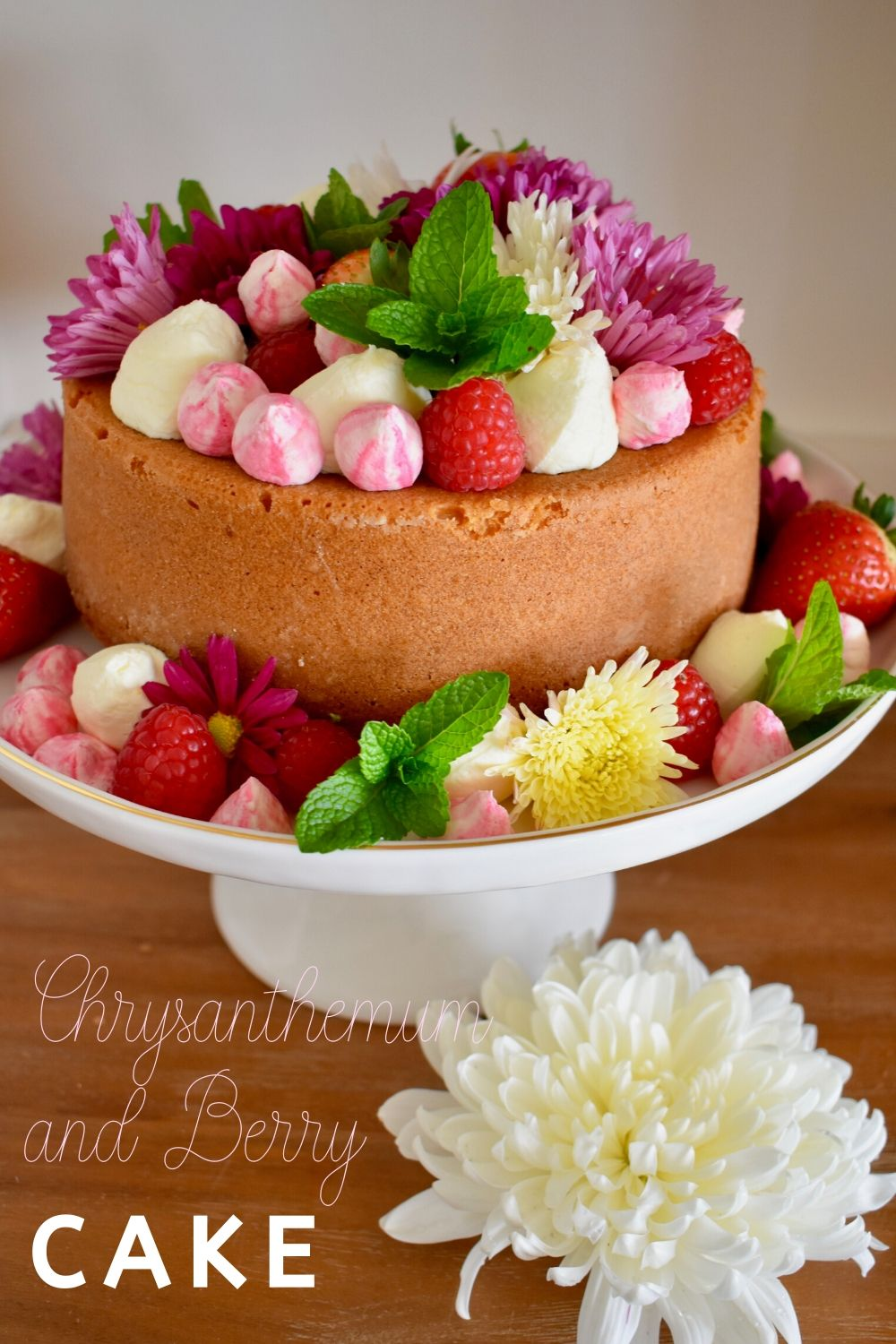 Mother's Day Cake decorated with flowers and berries