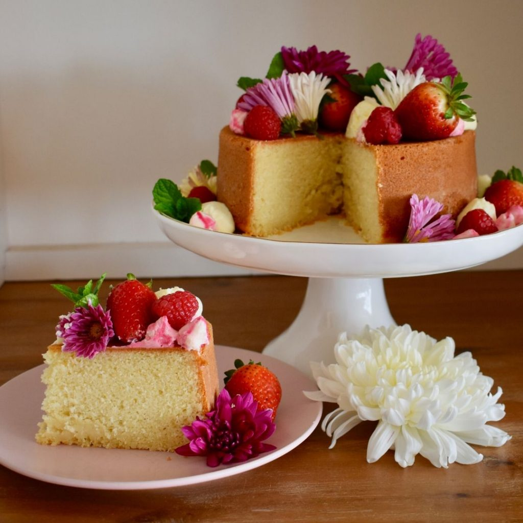 sliced mothers day cake