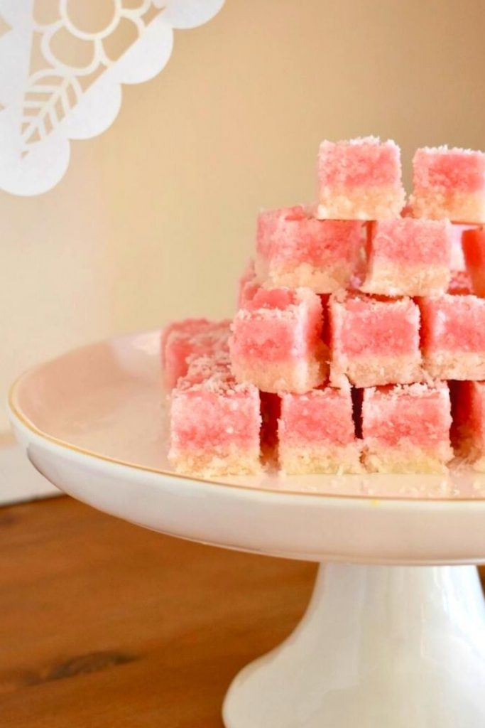 coconut ice on cake stand