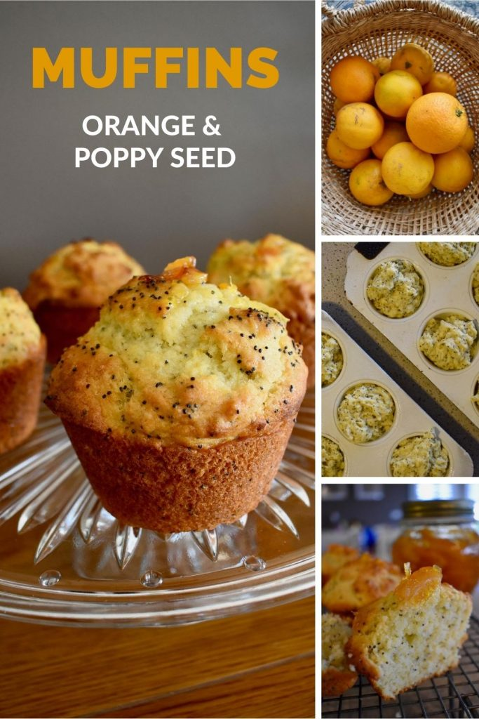 orange and poppy seed muffins collage
