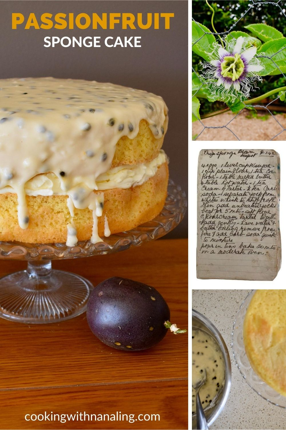 passionfruit sponge cake recipe pin