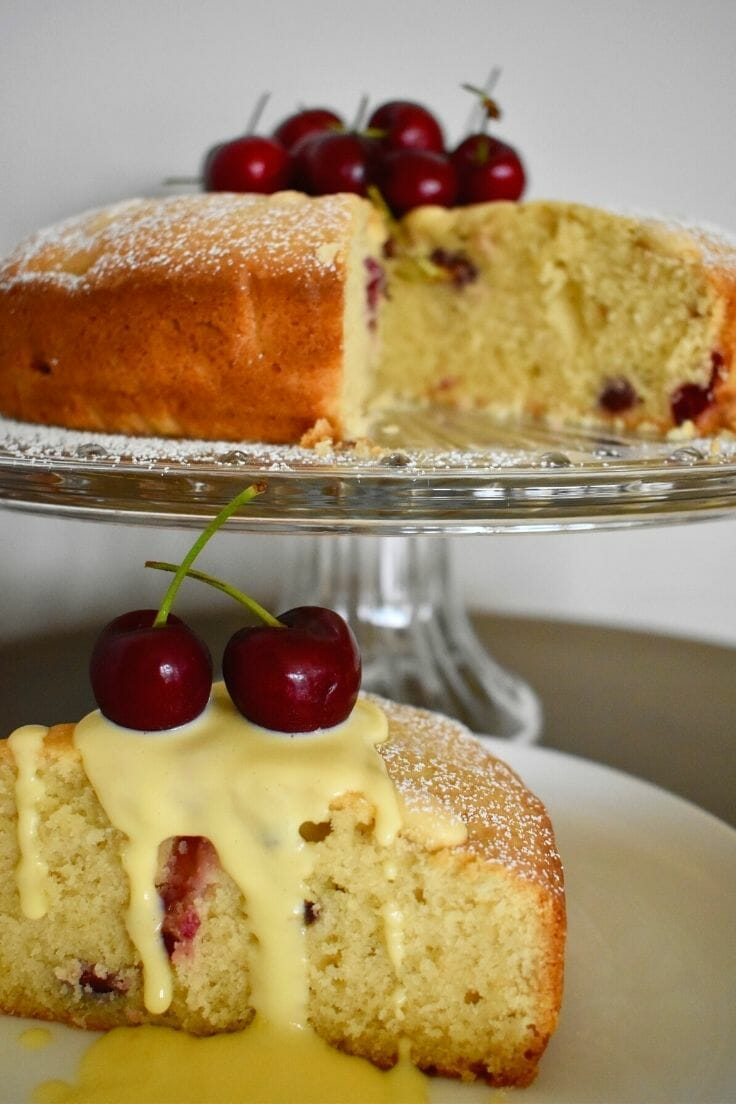 cherry cake with blanched almonds and custard