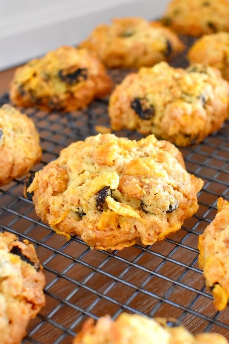 cornflake cookies on wire tray