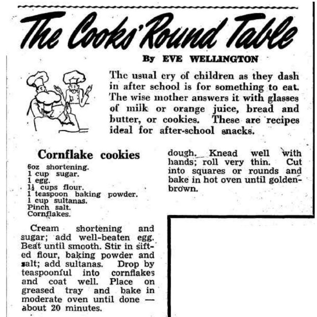 cornflake cookies recipe from the sun newspaper dated 1949
