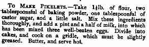 pikelets recipe from Australian magazine in 1800s