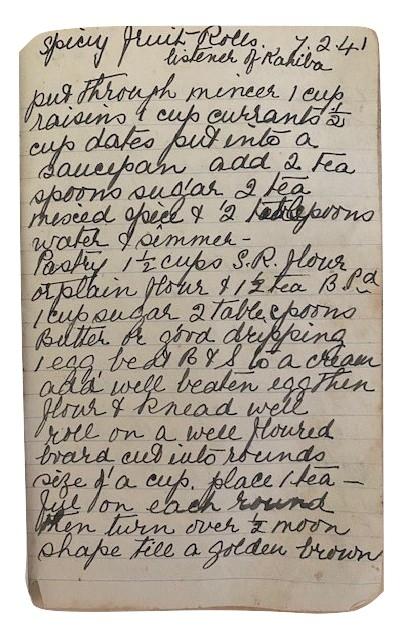 handwritten recipe for spicy fruit rolls