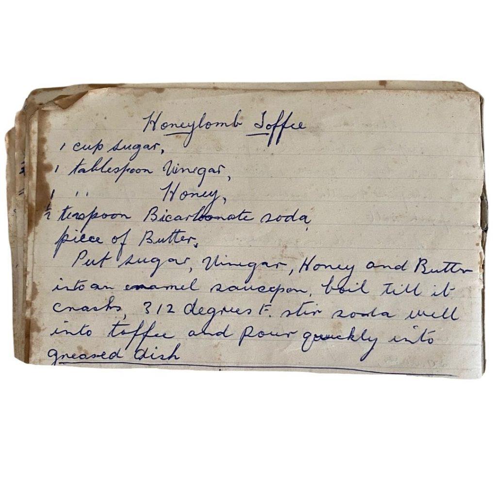 honeycomb recipe handwritten