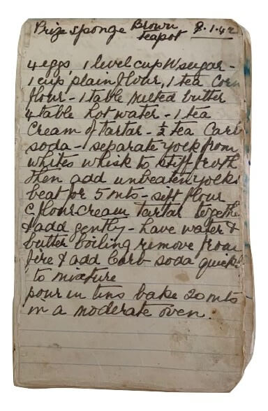 handwritten sponge cake recipe