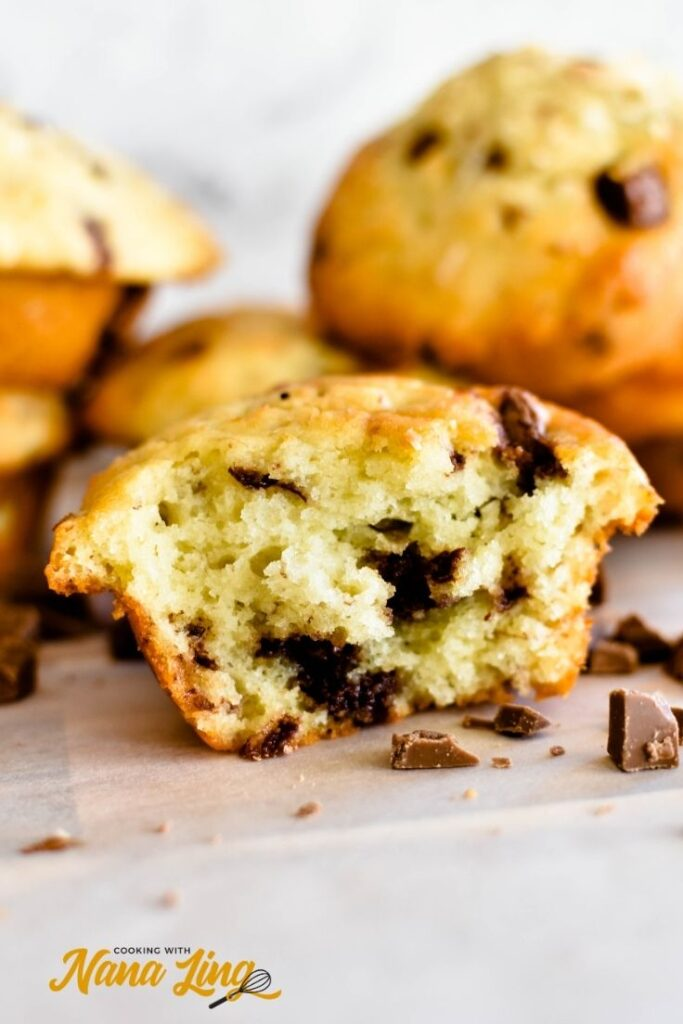 banana choc chip muffins, cut view