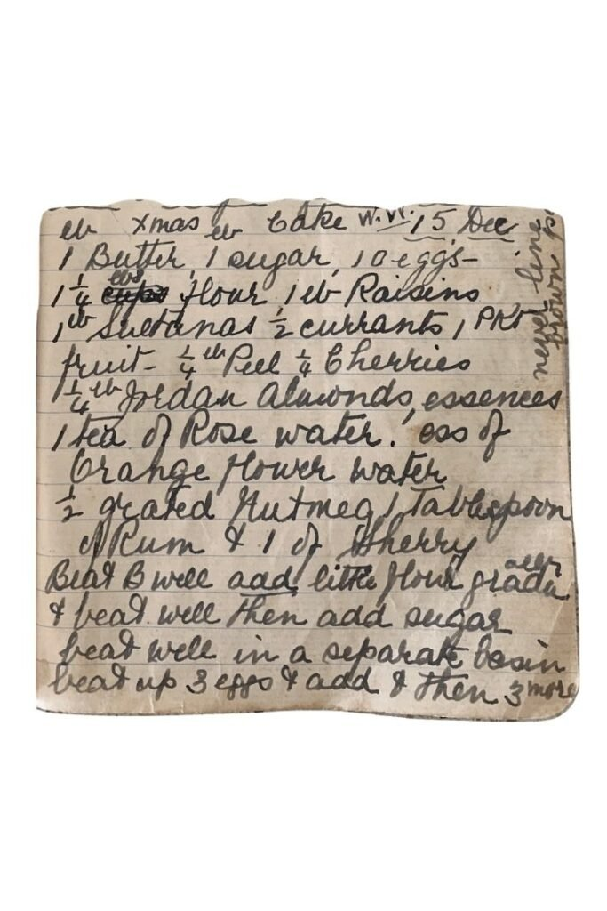 floral fruit cake recipe handwritten