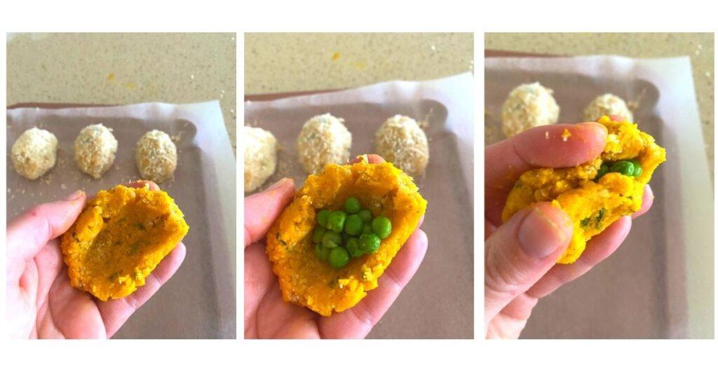 shaping pumpkin croquette