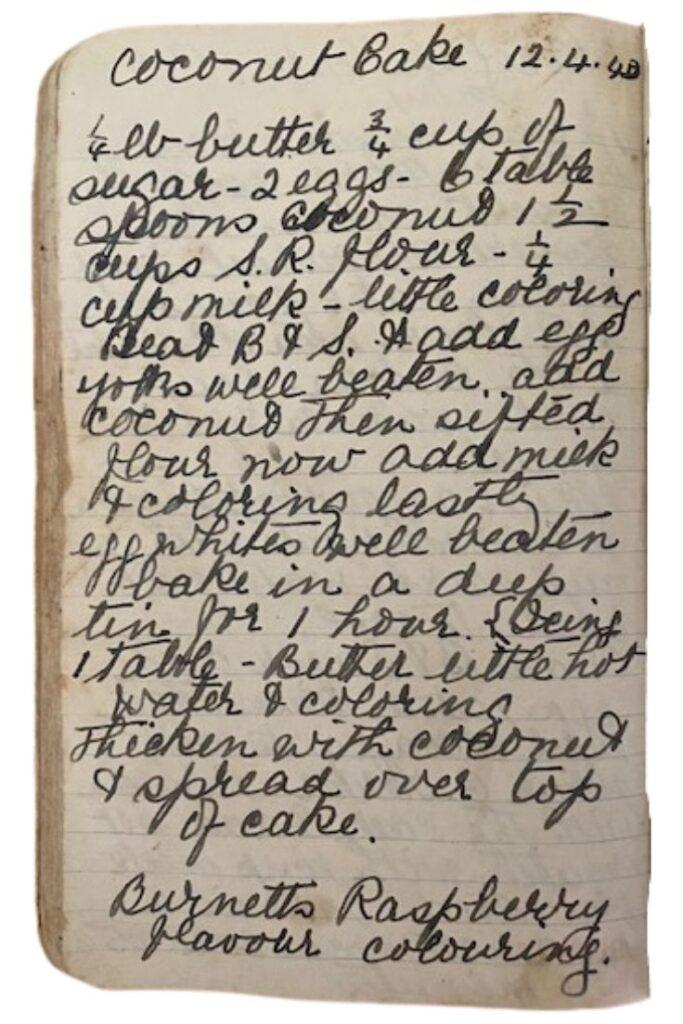 handwritten coconut cake recipe