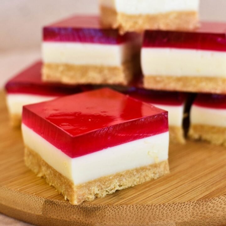 jelly slice sitting on timber board