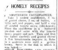 smothered cauliflower recipe newspaper clipping