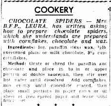 chocolate spiders recipe from 1939