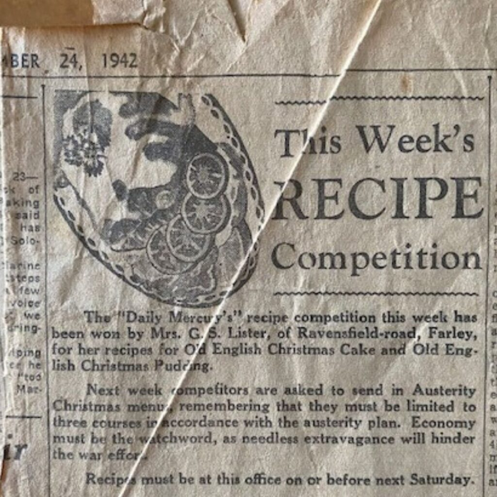 newspaper clipping recipe christmas