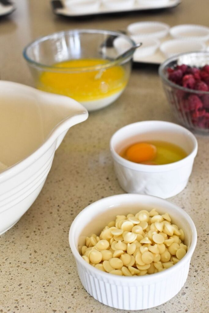 raspberry white choc muffin ingredients